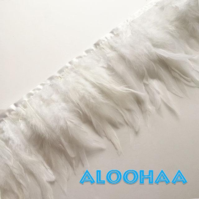 フェザーロール【ホワイト】15-20cm丈 1m DIY 羽 衣装材料 タヒチアン
