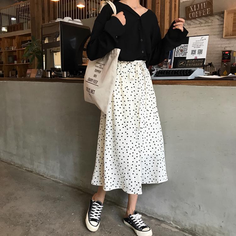 【送料無料】 ドット柄がアクセント♡ ハイウエスト シフォン ロングスカート