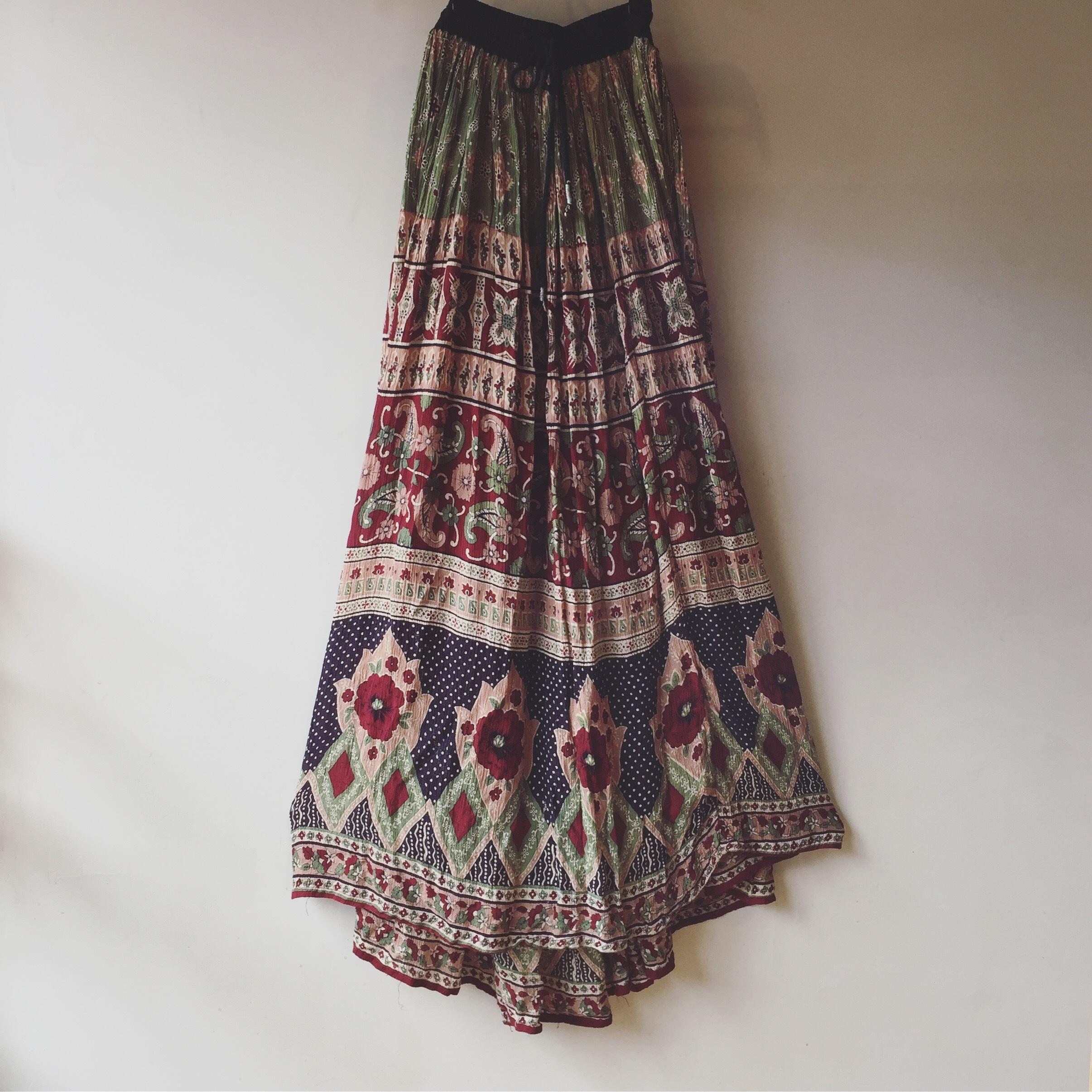 vintage Indian rayon skirt