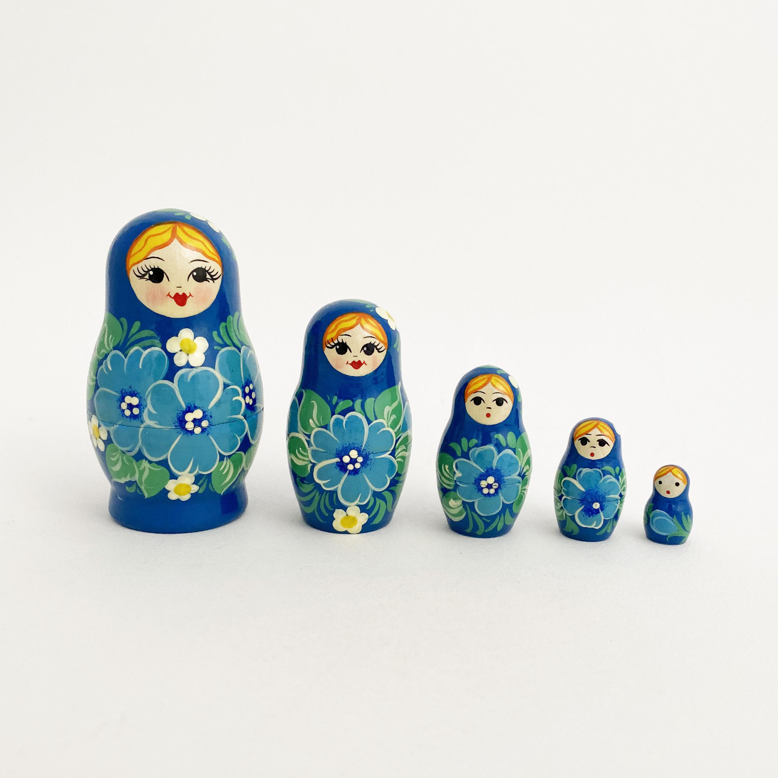 ノーリンスク産マトリョーシカ/青い花5個組