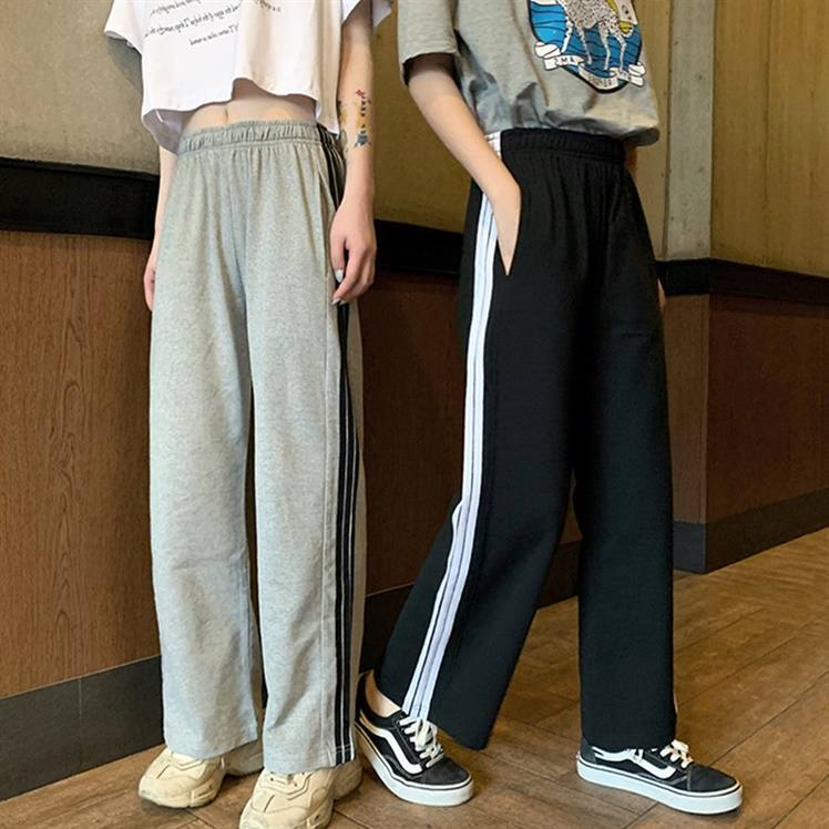 【送料無料】 楽ちん&おしゃれ♡ スポーティ カジュアル ライン入り ウエストゴム ストレート パンツ ズボン