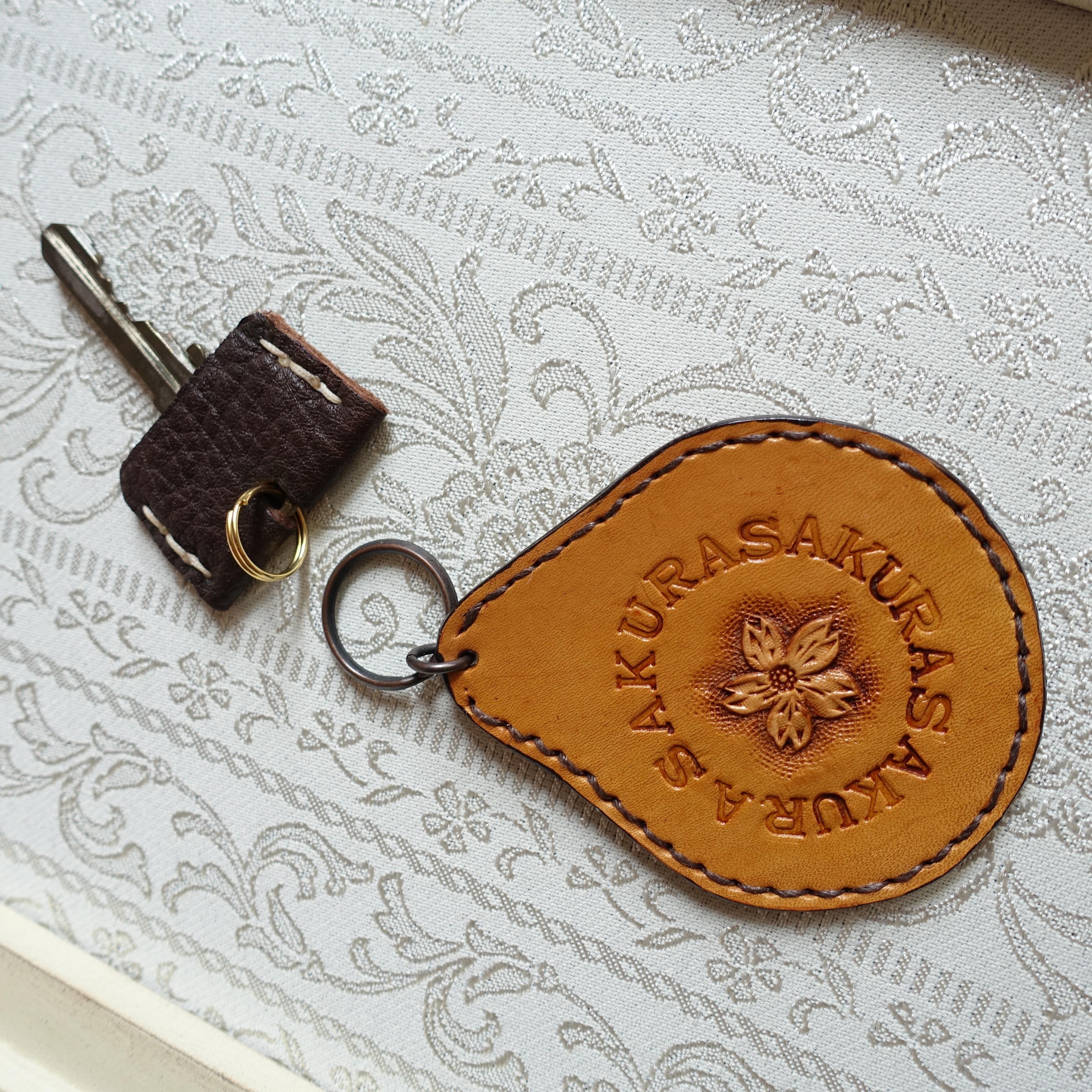 SALE! 革好きさんのためのカービングのキーホルダー/さくらB(送料無料)