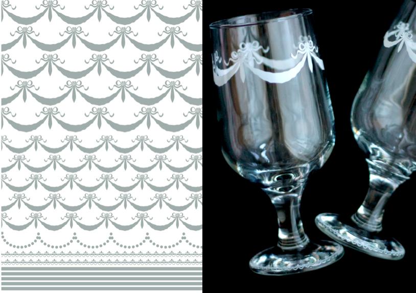 【ガラス用】リボンガーランド&ライン転写紙 ホワイト