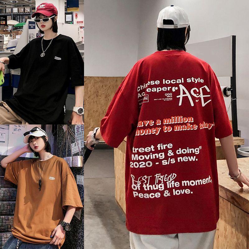 ユニセックス 半袖 Tシャツ メンズ レディース ワンポイント 英字 バックプリント オーバーサイズ 大きいサイズ ルーズ ストリート