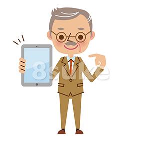 イラスト素材:タブレット端末を持つ熟年のビジネスマン(ベクター・JPG)