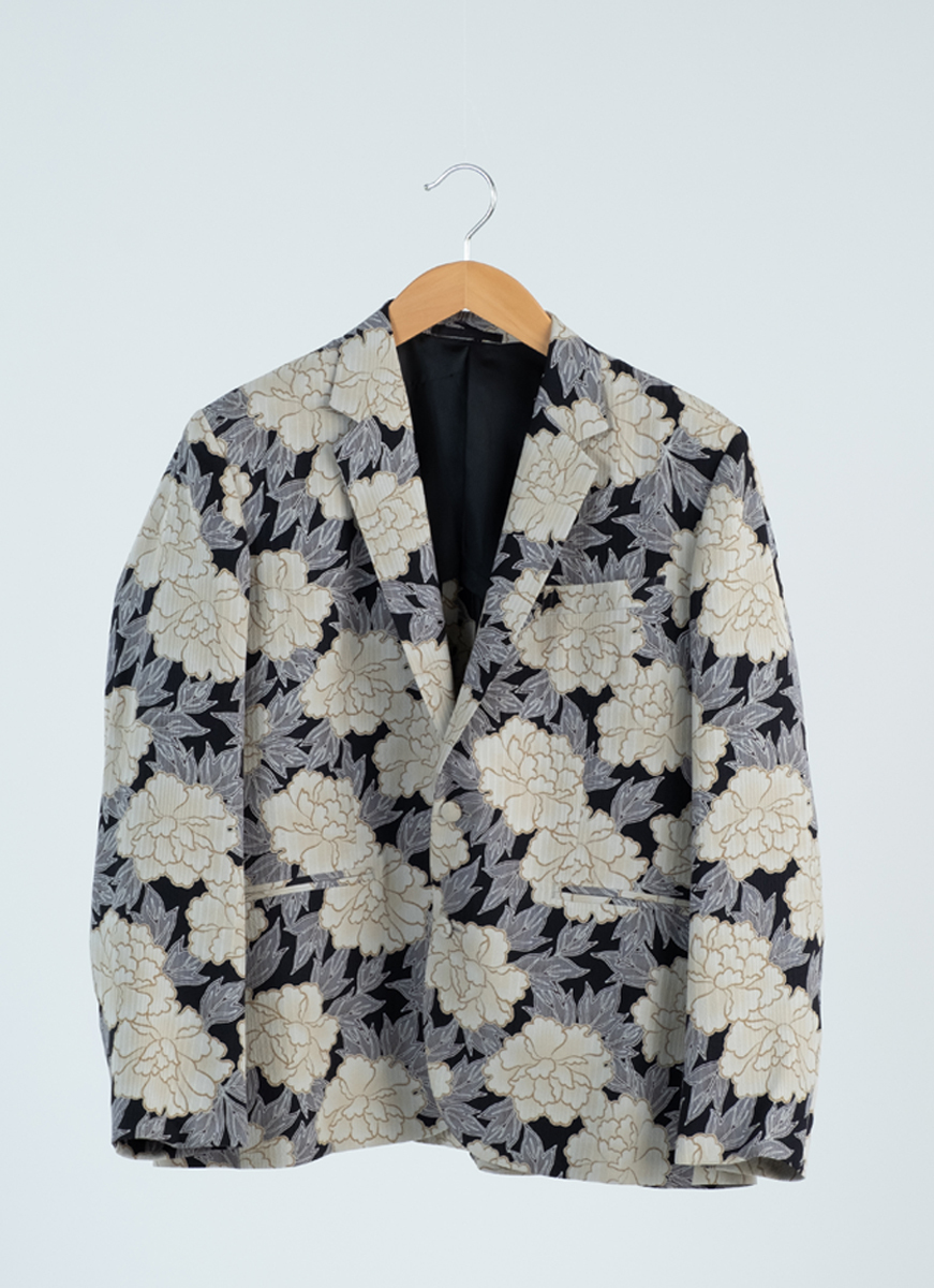牡丹文様 ジャケット 着物 正絹製