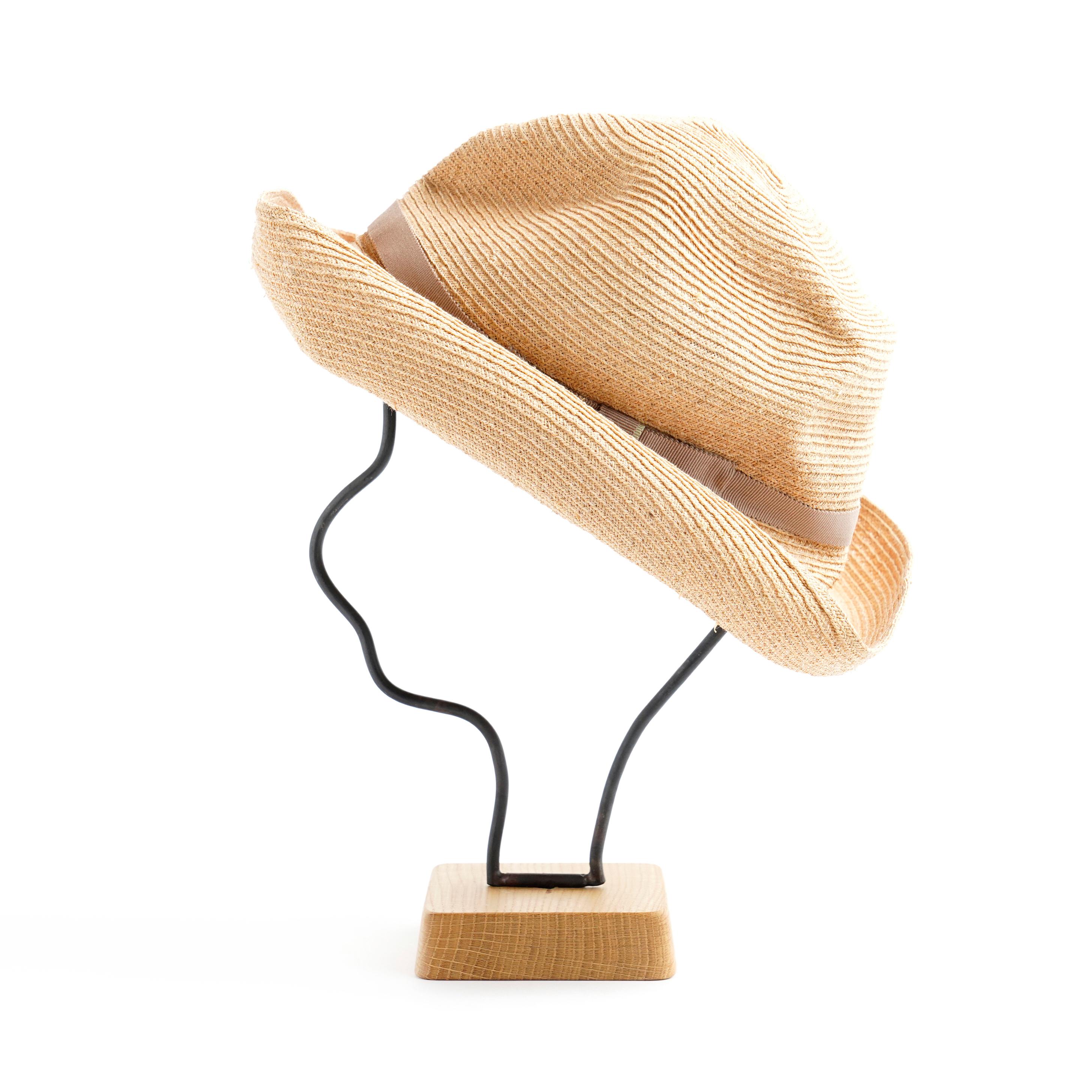 mature ha./BOXED HAT 401 raffia 11cm brim/natural×pale beige double
