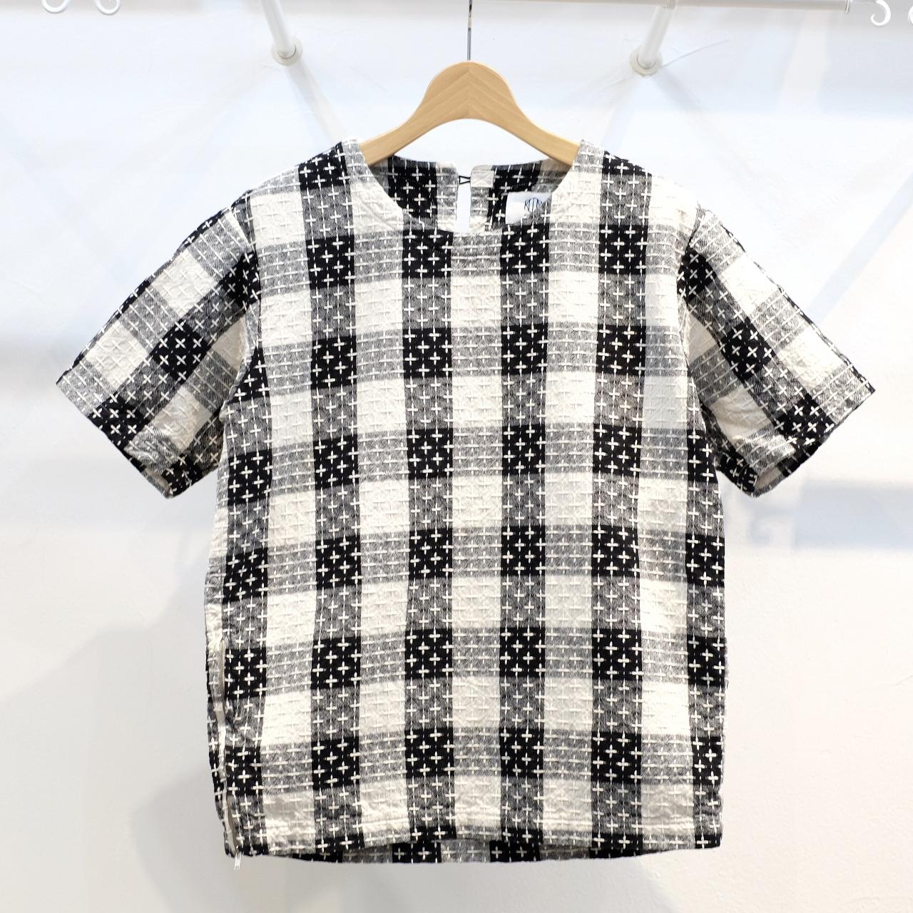 KUON(クオン) ブロックチェック十字刺し子織 半袖プルオーバーシャツ(カットソー)