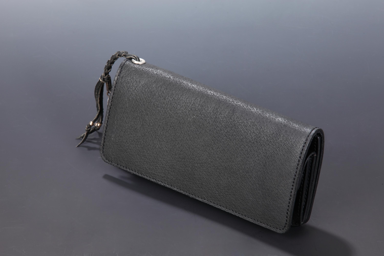 【国産イノシシ革】2つ折り ロングウォレット(Black)【NOTO Leather使用】