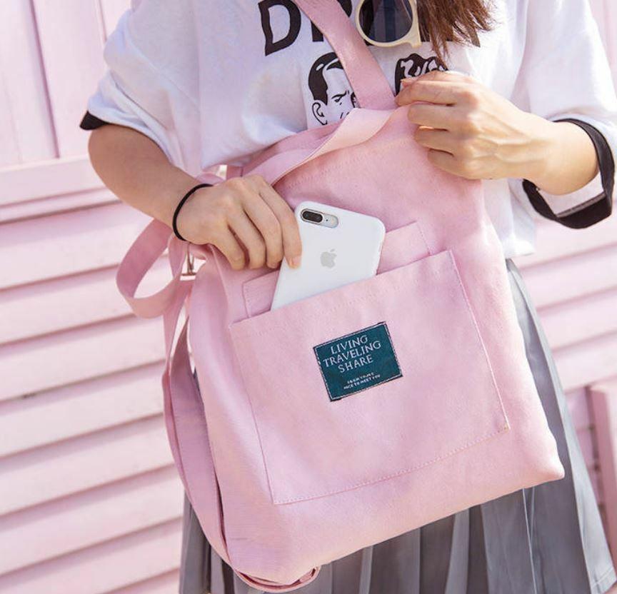 【送料無料】 通学や普段使いに♡ キャンバス ショルダーバッグ トートバッグ 2WAY ロゴ 斜めかけ カバン