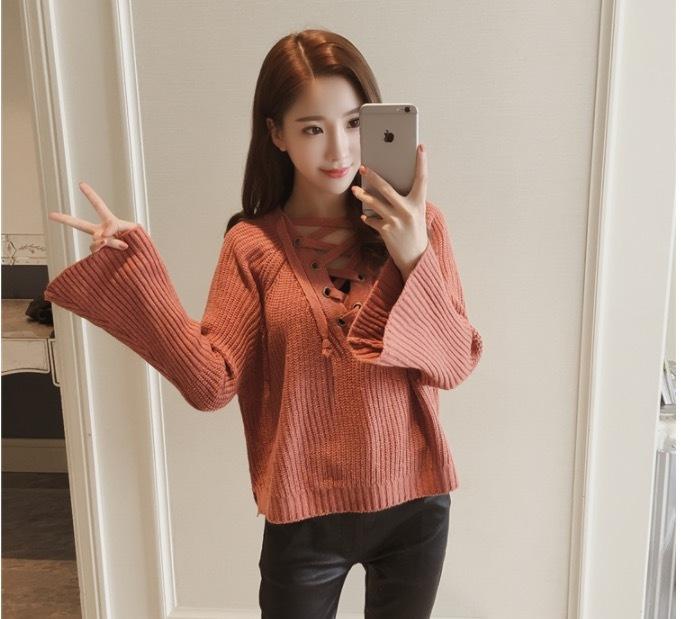 40%OFFy[A43]2018年 トレンド Vネック プルオーバーのセーター 編み上げニット テラコッタ