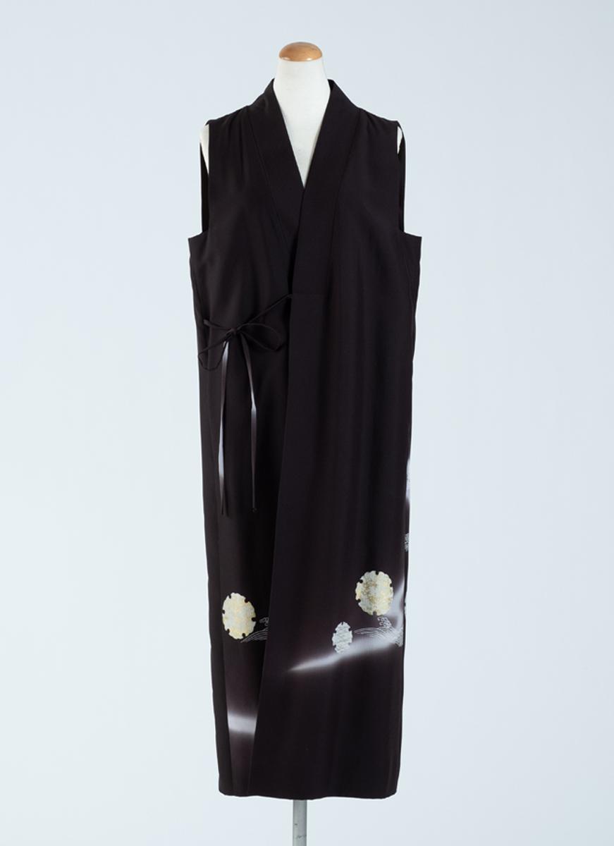 雪輪模様 裾柄模様 スリーブレスドレス 着物 正絹製