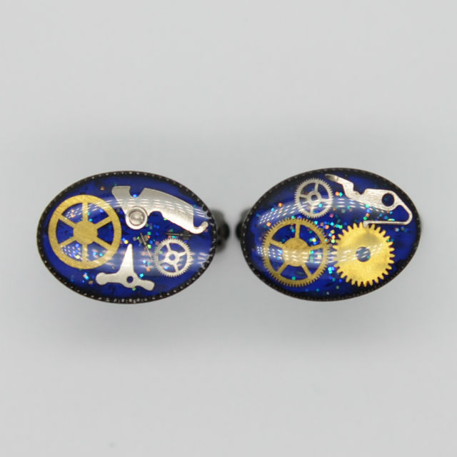 カフリンクス(カフスボタン)楕円・青