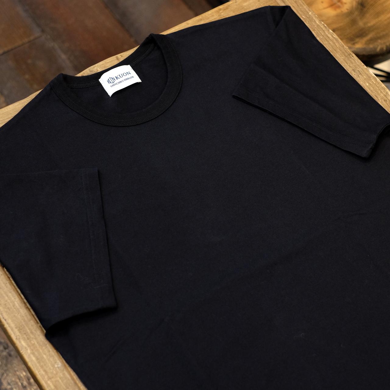 KUON(クオン) 裾裂織りトリミング 半袖Tシャツ ブラック