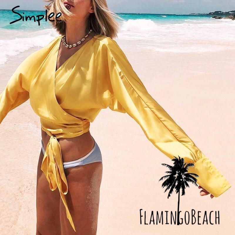 【FlamingoBeach】satin shirt サテンシャツ