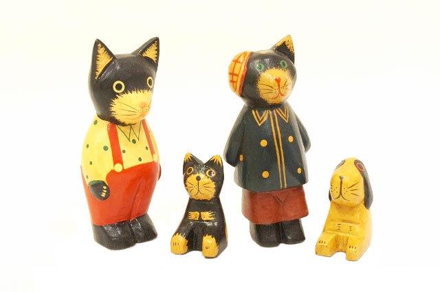 木彫りのバリ人形10 イヌ・ネコ