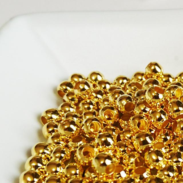 ゴールドラウンドスペーサービーズ・5mm(25個入り) [E03-008]