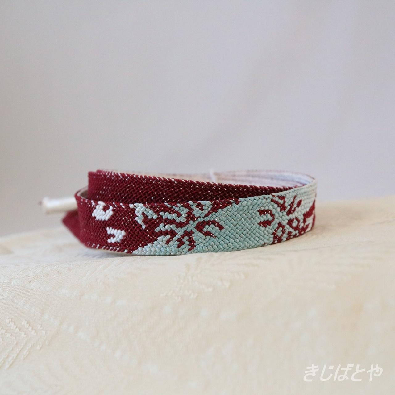 正絹 レース帯締め 蘇芳に砧青磁の花