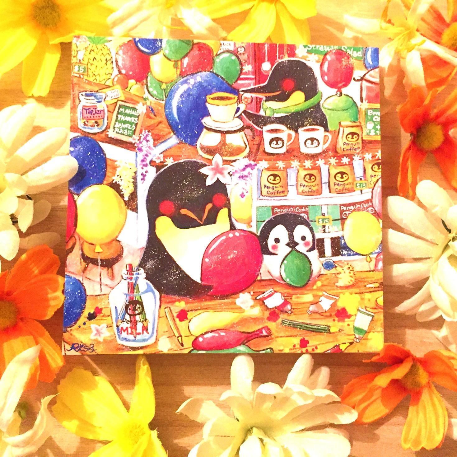 絵画 インテリア アートパネル 雑貨 壁掛け 置物 おしゃれ イラスト ペンギン 動物 ロココロ 画家 : 高井 りさ 作品 : ペンギンが空飛ぶ方法を知ってる?