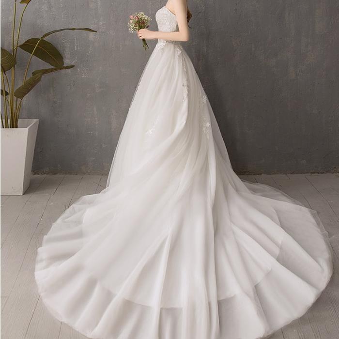 プリンセス ウエディングドレス ロングドレーン