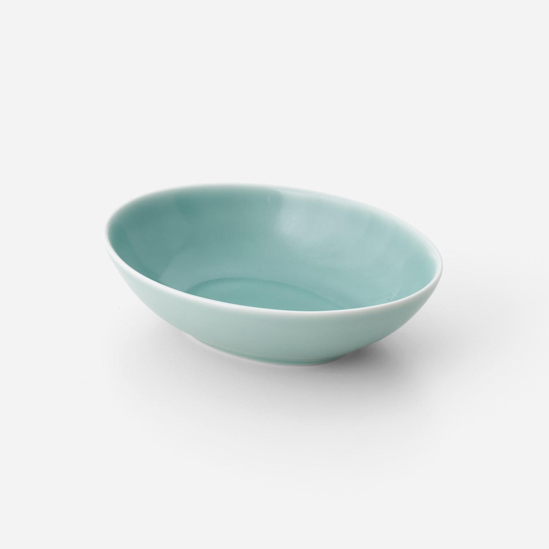 青磁 楕円深皿