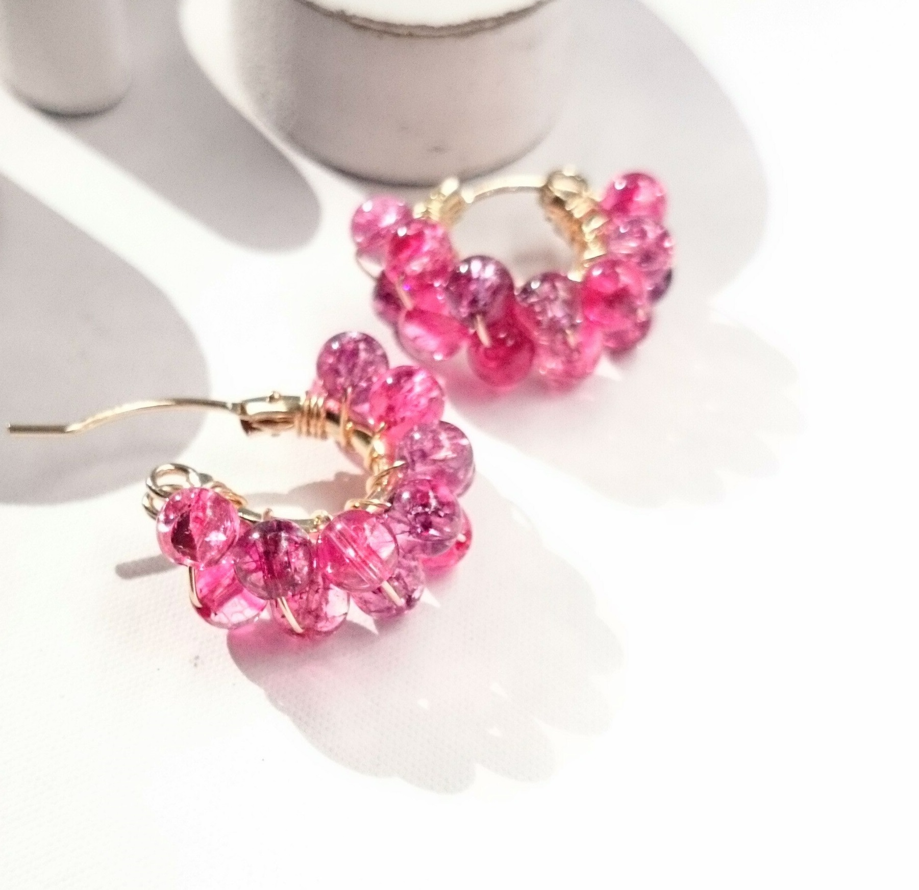 送料無料14kgf♡Spring Jerry multicolored quartz pierce/earring PK 紫陽