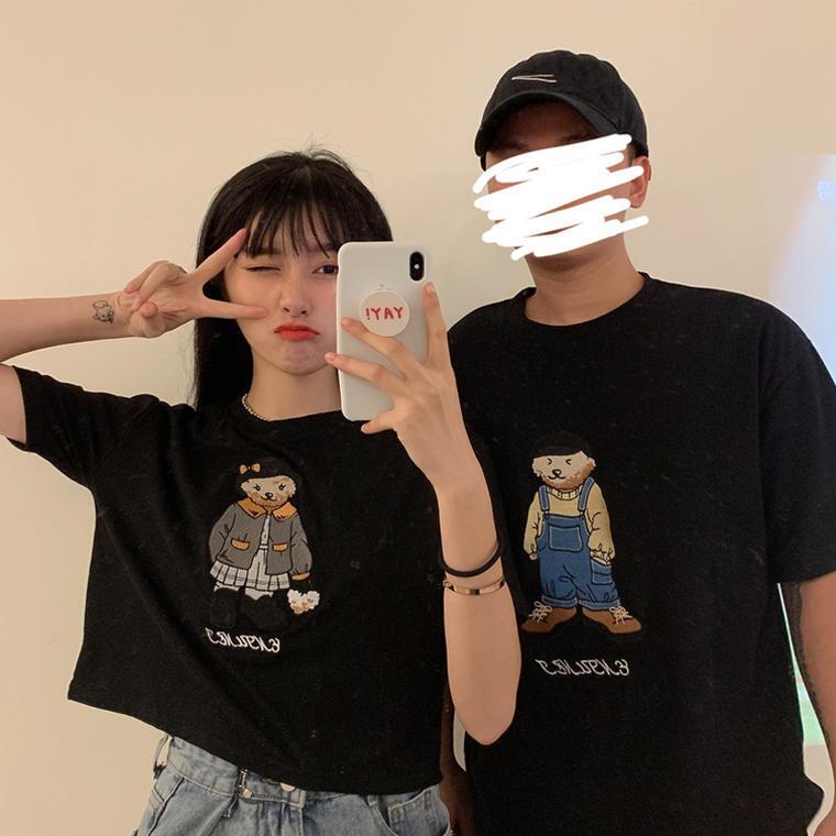 【送料無料】 カップルコーデ♡ ベア プリント 半袖 Tシャツ ショート丈 オーバーサイズ ビッグシルエット