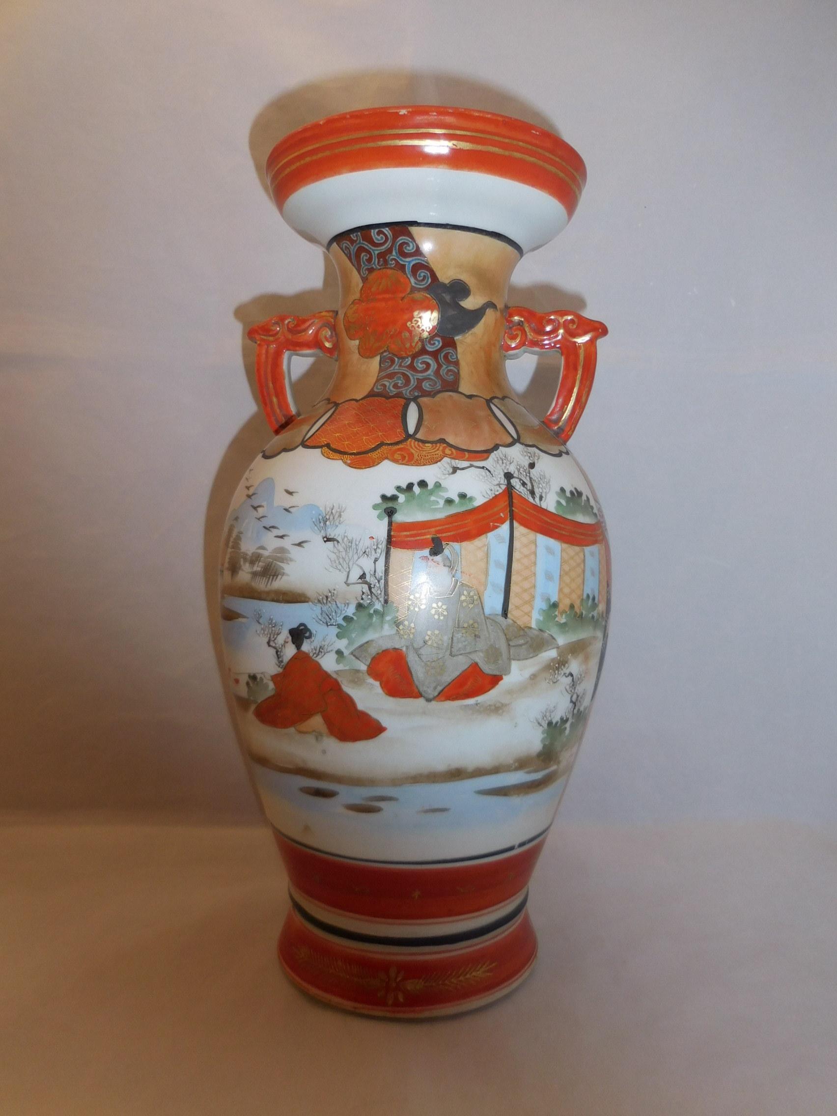 九谷花器 Kutani porcelain vase(Samurai,bird,flowers)