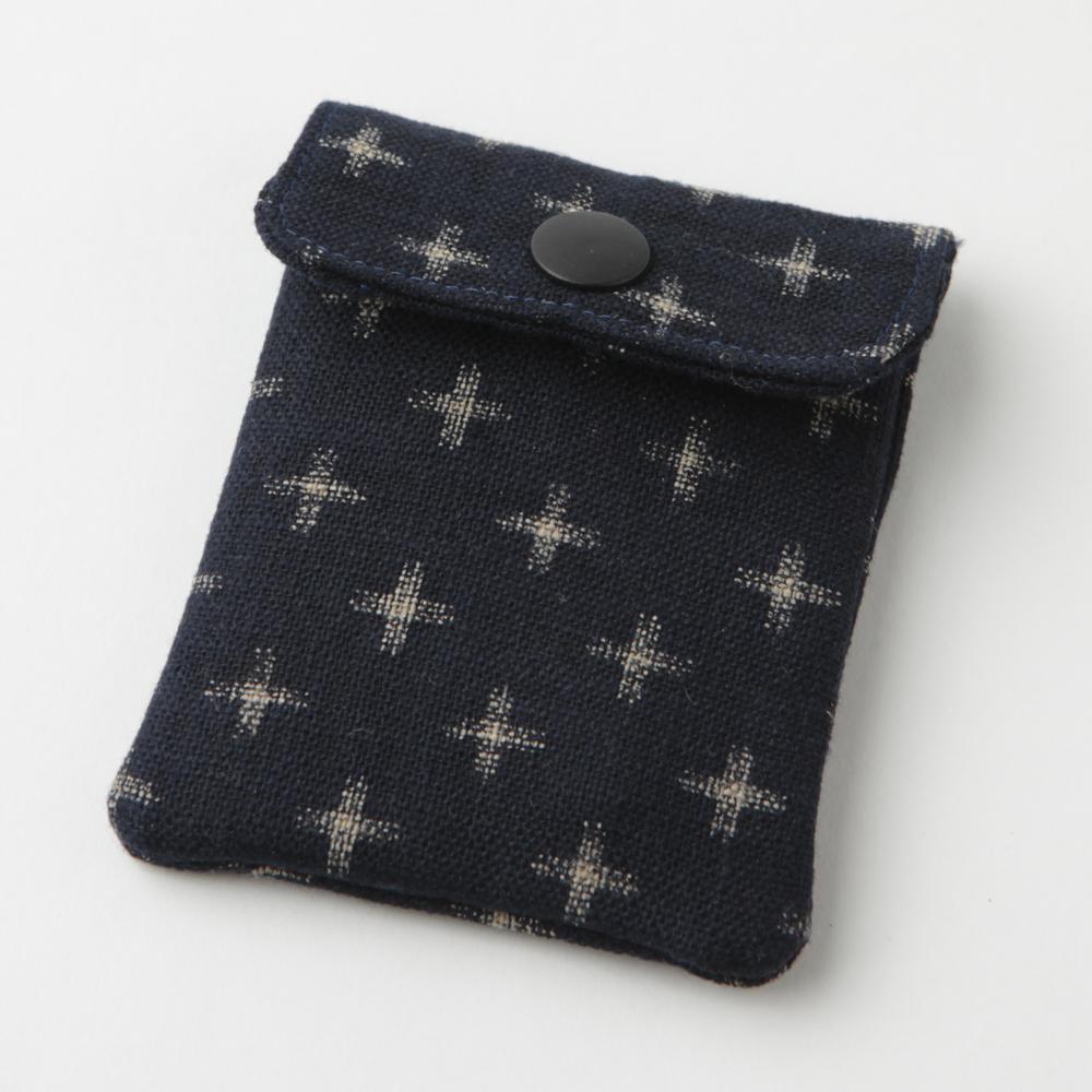 携帯灰皿 おしゃれ かわいい 和柄 十字文様 ネイビー 熟練職人のハンドメイド インナーリフィル合計2個付属 日本製