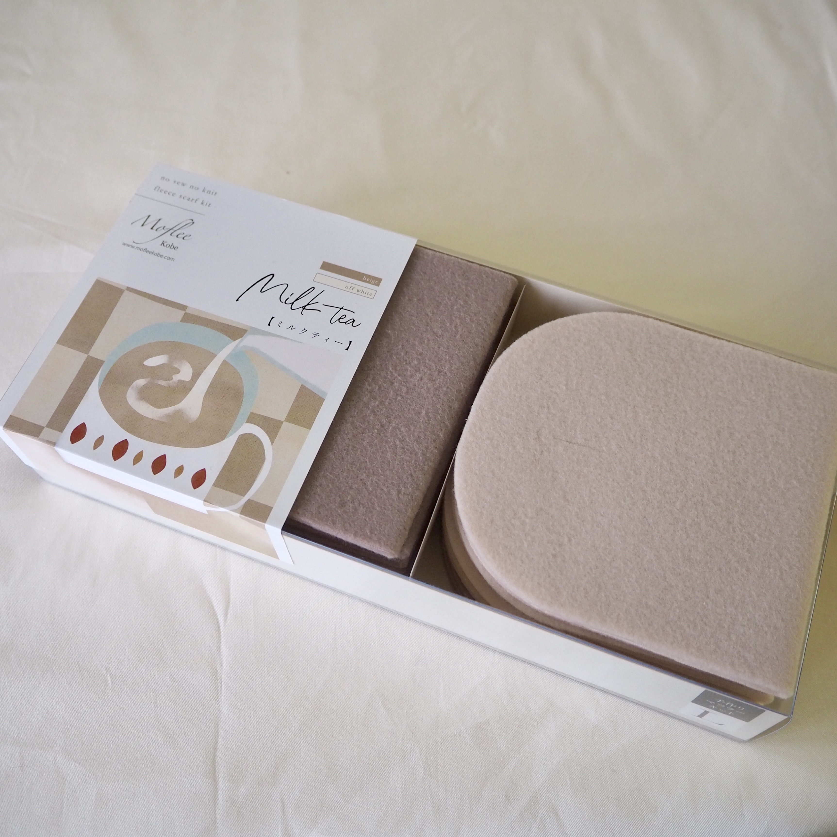 動画付手作りマフラーキット【モフリー Box Kit】 ミルクティ ◆ Lサイズ