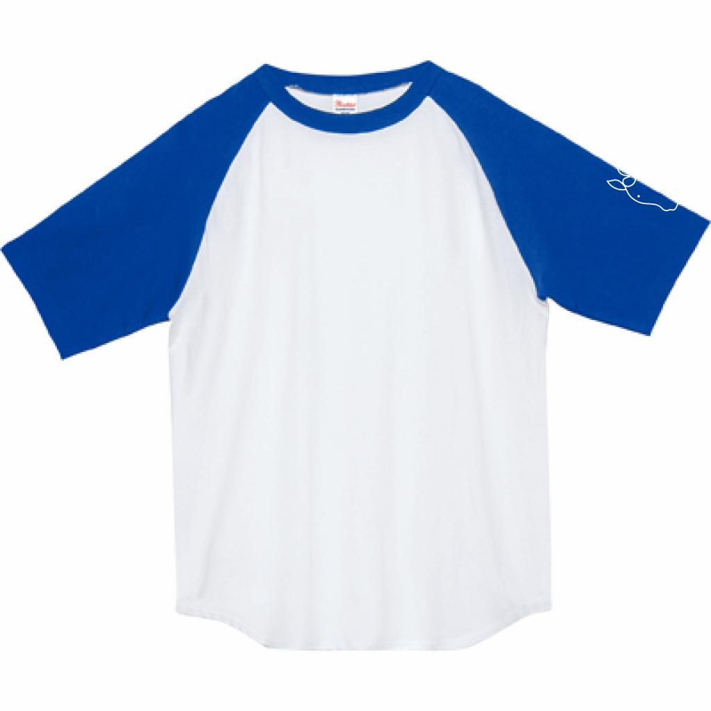 ウマ ラグランT(ブルー×ホワイト・受注生産)