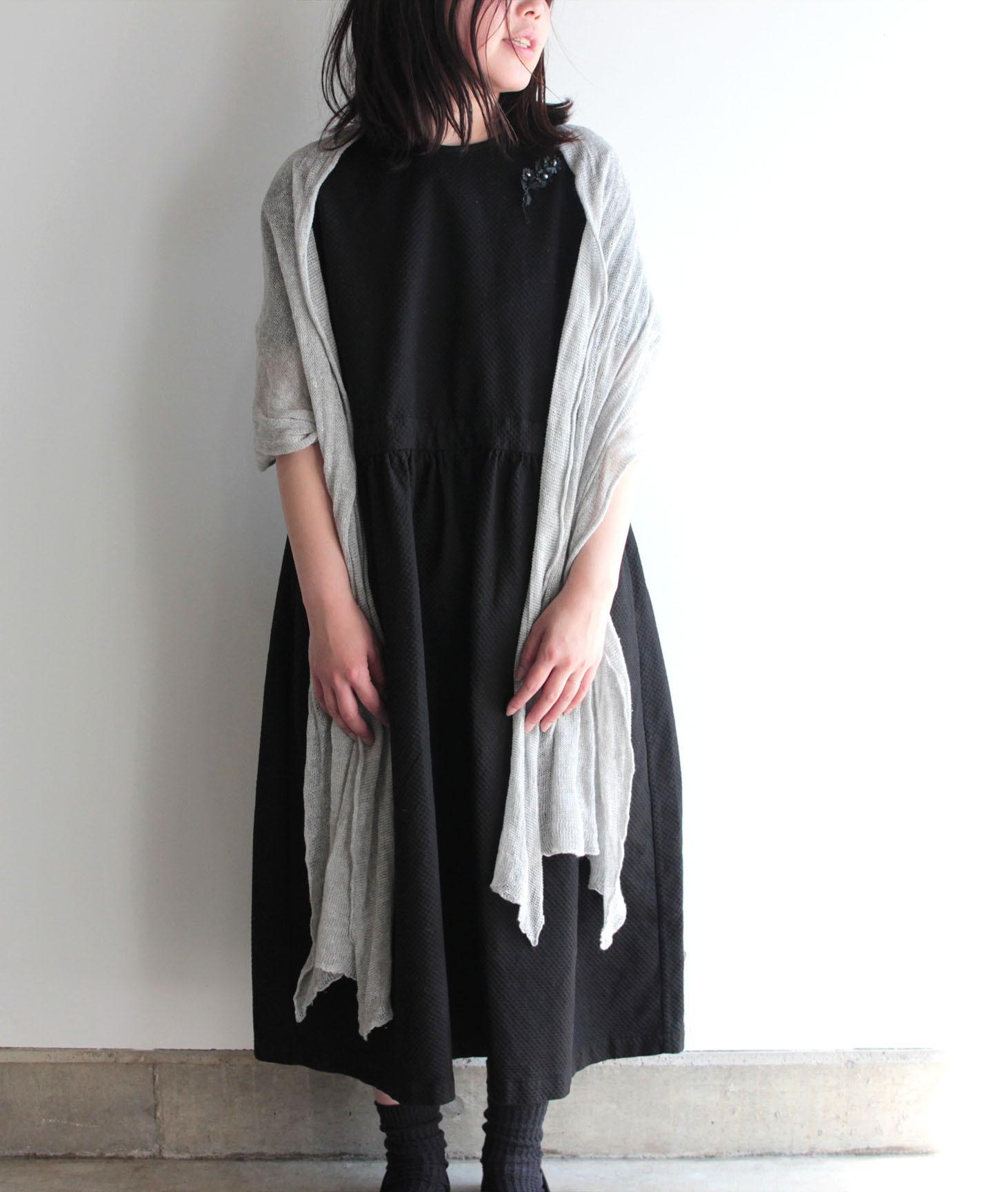【手編み機で編んだ】ベルギーリネンのストール 丈長タイプ(AD015)