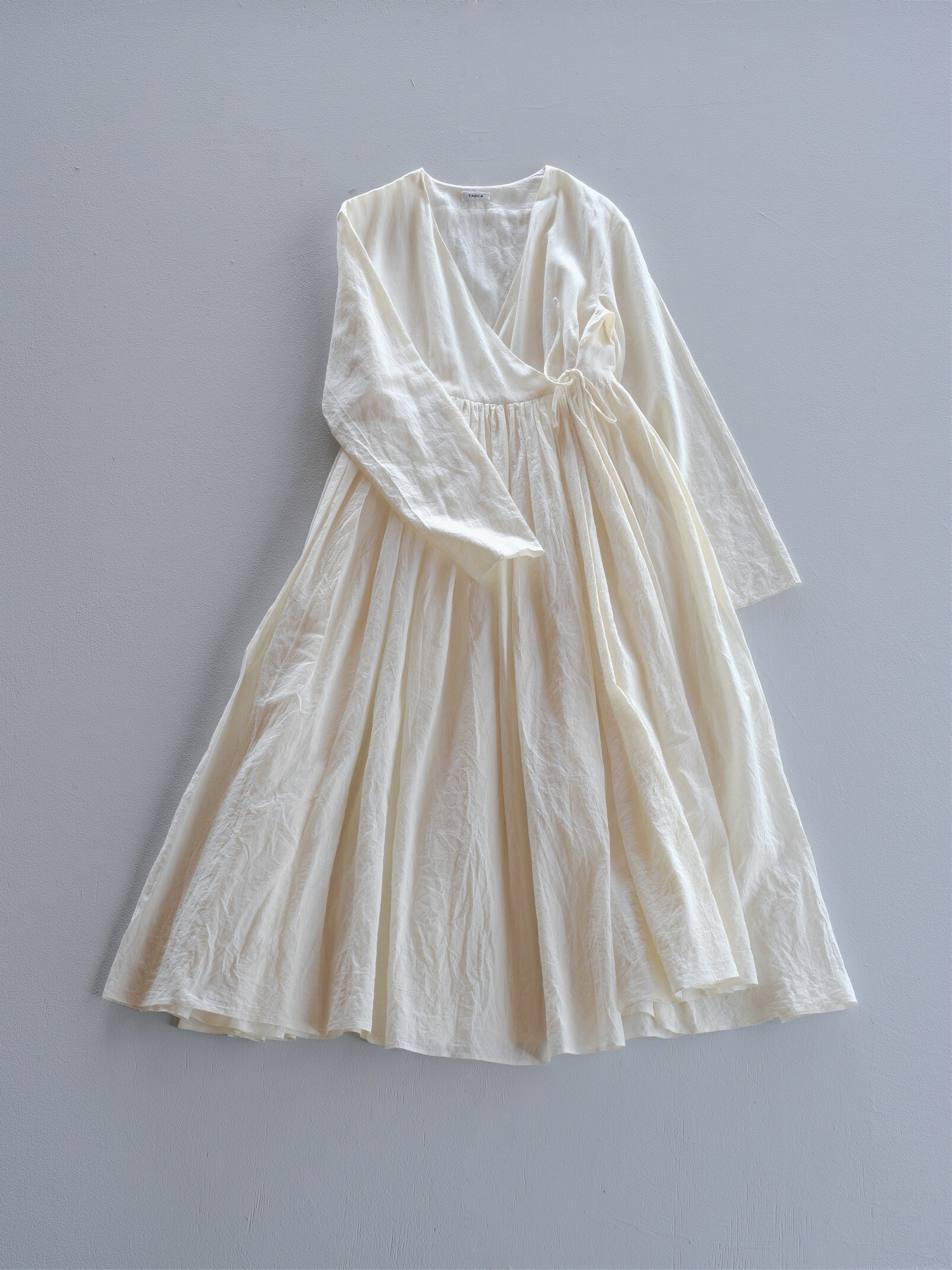 YAECA khadi |ラップギャザードレス natural