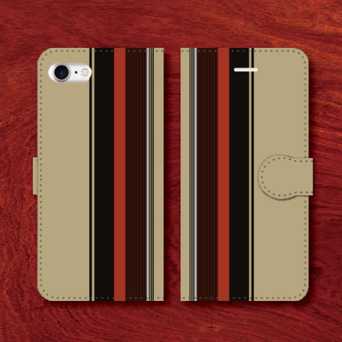 レトロストライプ/昭和レトロ/レトロ家具調/砂色・灰系色/iPhoneスマホケース(手帳型ケース)