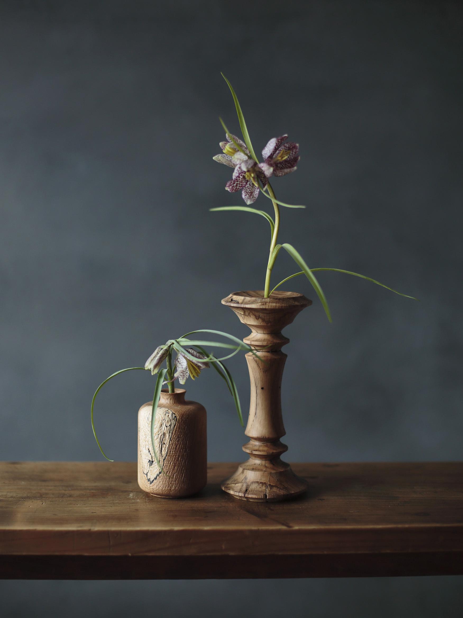 虫喰いの花器 筒 - 画像3