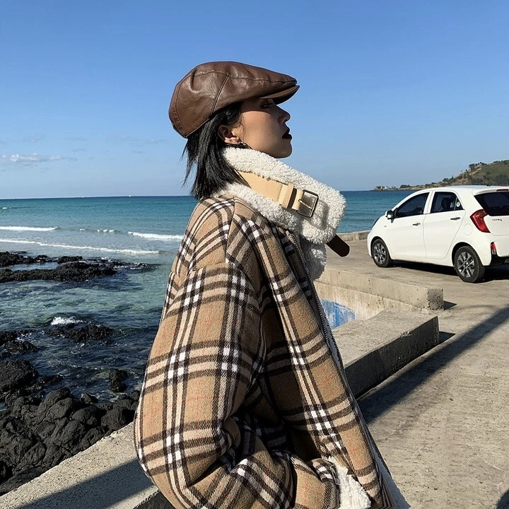 house check pattern jacket
