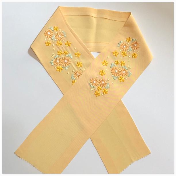 送料無料!★ 半衿 やまぶき 刺繍(ししゅう)和装小物 ★2360