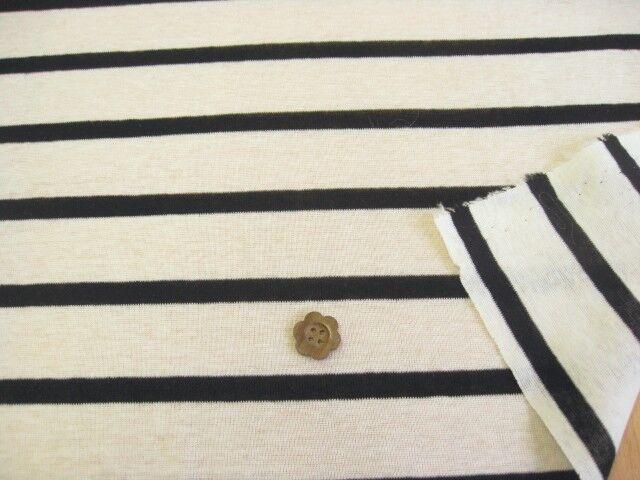 綿80双糸強撚スラブ天竺ニット・ボーダー オフホワイト+ブラック NTB-9353