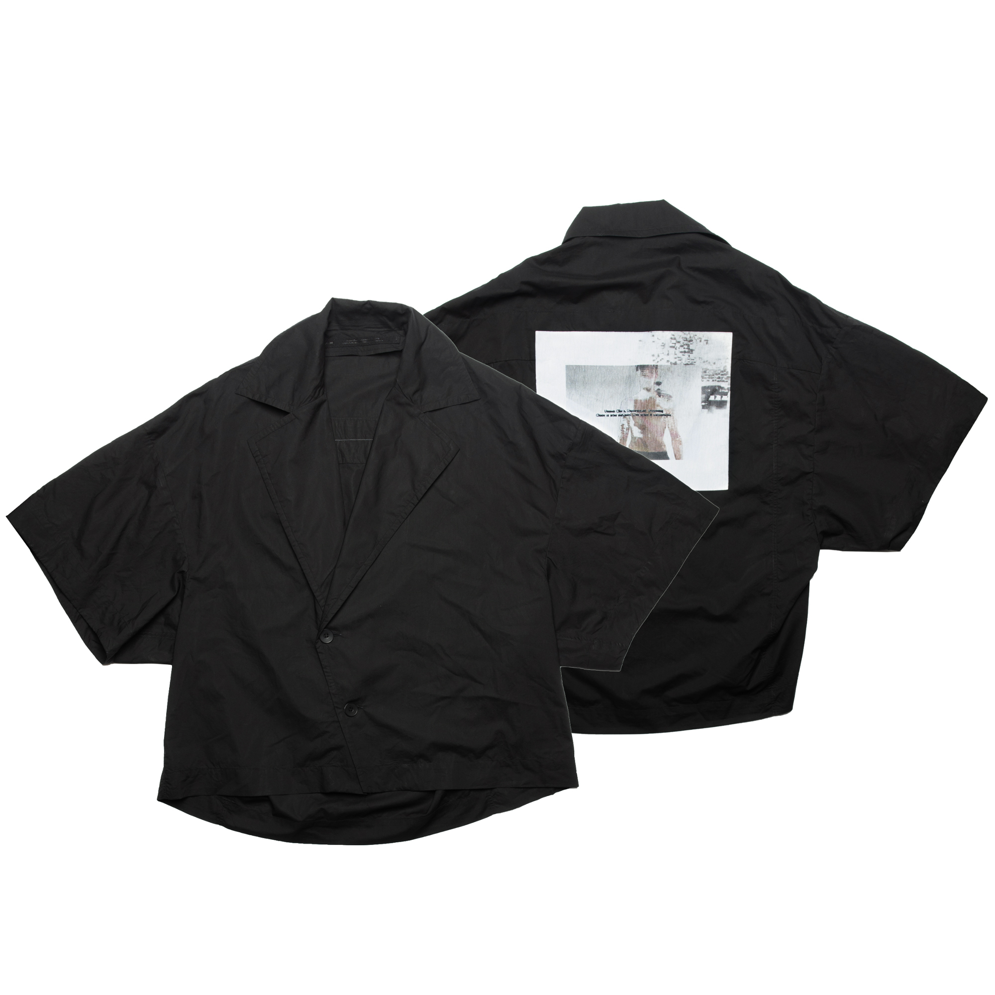 657SHM3-P-BLACK / プリントオープンカラーボックスシャツ