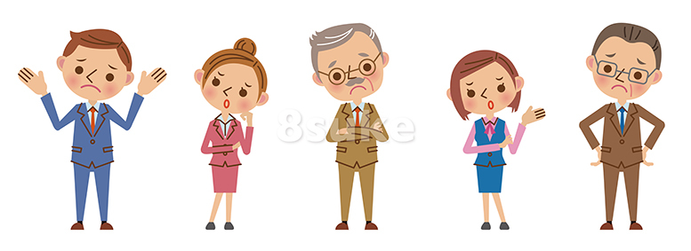 イラスト素材:困った表情のビジネスチーム(ベクター・JPG)