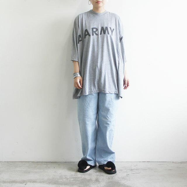 sunny side up サニーサイドアップ リメイク2FOR1ビッグTシャツ GRAY グレー レディース Tシャツ 半袖 ロゴ ARMY リメイク 古着 ゆったり 通販 (品番sr-188-005)