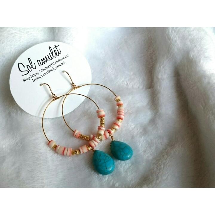 【イヤリング/ピアス】drop turquoise hoop pierce