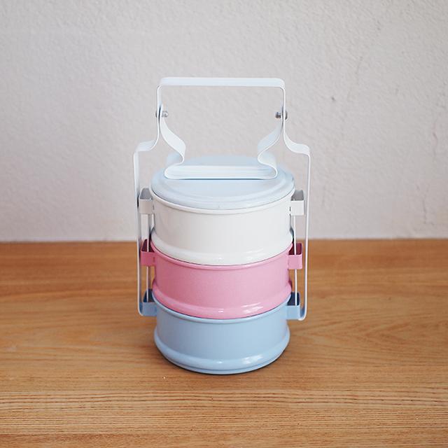 【タイ】 ホーロー ランチボックス 3段 ピントー お弁当箱