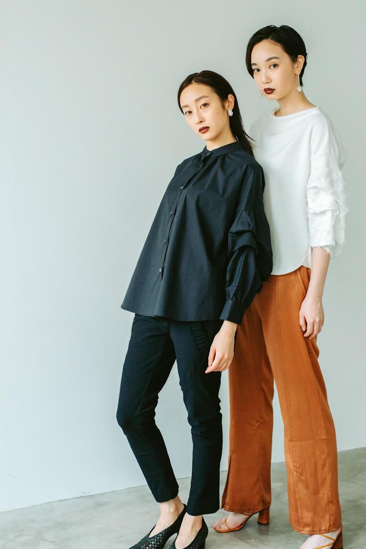 ウェーブスリーブシャツ 3色:ブラック