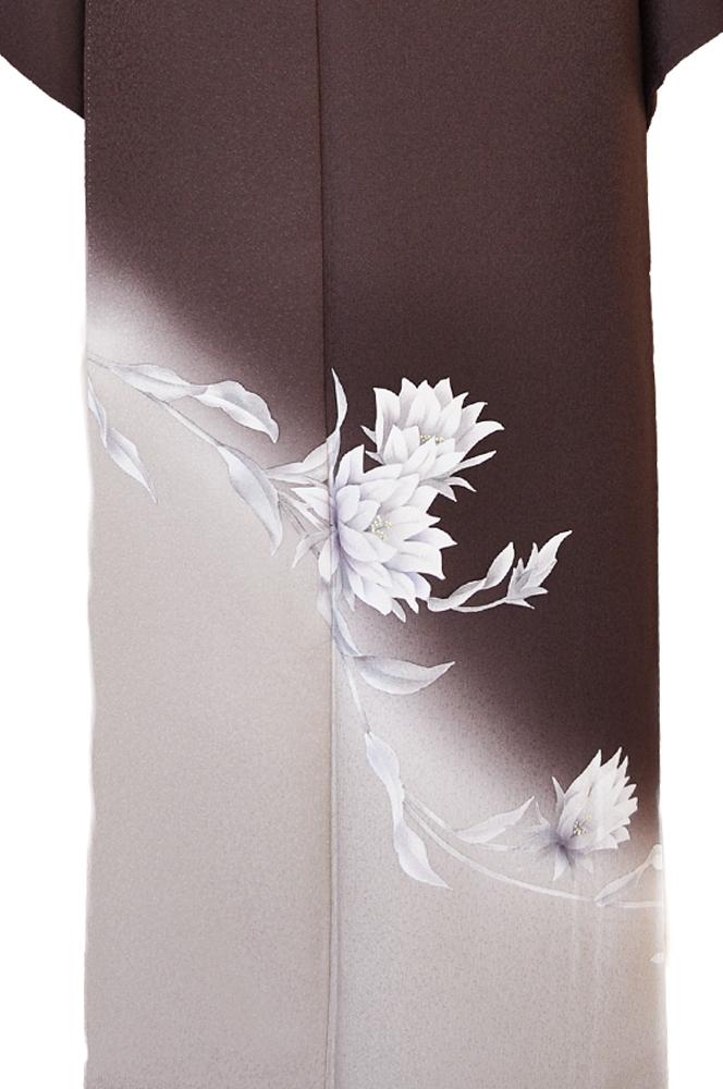 訪問着レンタル■濃茶色地に裾ぼかしキク科の花柄■正絹フリーサイズhu2〔往復送料無料〕 - 画像5