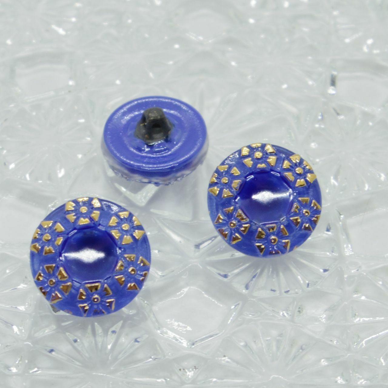 【チェコガラスボタン】花の輪・ブルー ::: 特小1.4cm