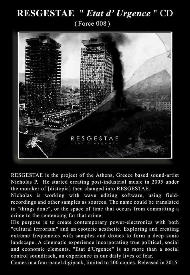 RESGESTAE - Etat d'Urgence CD - 画像2