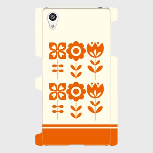 昭和デザイン花(橙) / Androidスマホケース(ハードケース)