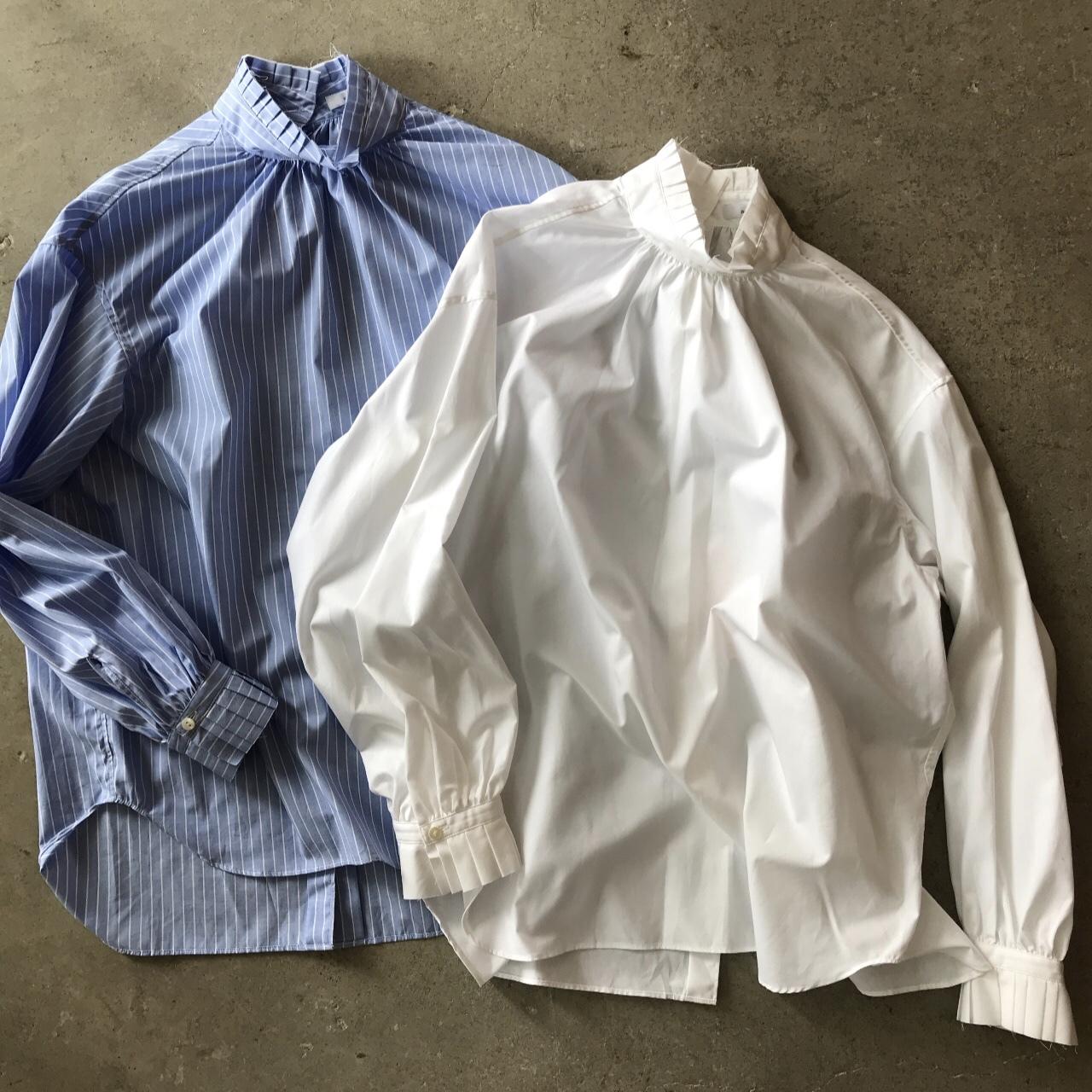PHEENY - Stand collar frill tuck shirt