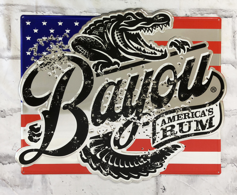品番0439 サインプレート 『Bayou AMERICA'S RUM』 バイユーラム スチール製 看板